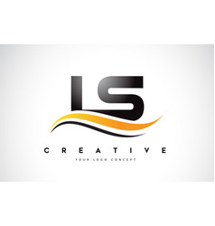 Ls l s swoosh letter logo design with modern vector