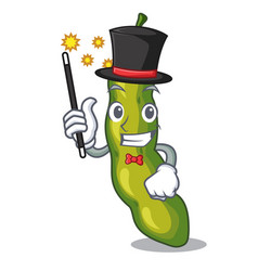 Magician green beans pod isolated on mascot vector