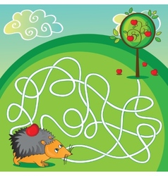 Maze for kids - help the hedgehog to get to the vector image vector image