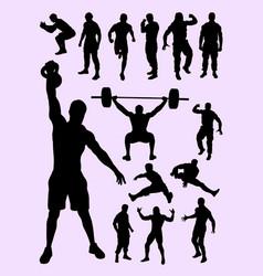 men activity silhouette vector image
