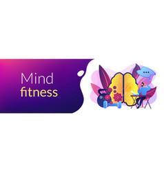 Mind fitness concept banner header vector