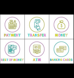 monetary transaction financial theme icon set vector image