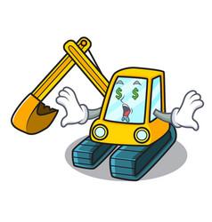 Money eye excavator mascot cartoon style vector