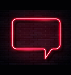 neon red glowing speech bubble sign vector image