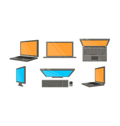 network icons set computer monitors side top vector image