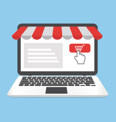 Online shopping concept with open laptop vector