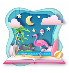 open fairy tale book with flamingo and tropic vector image