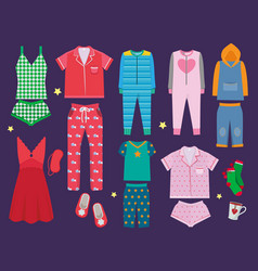 Pajamas set sleeping clothes collection vector
