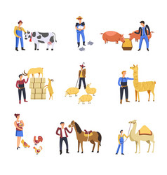 people breeding cattle animals farmer man vector image
