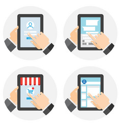 people using tablet computer for different vector image