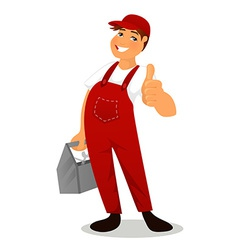 Plumber in red overall vector