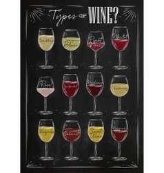 Poster wine chalk vector