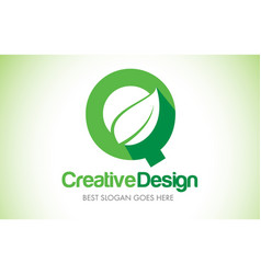 Q green leaf letter design logo eco bio leaf vector
