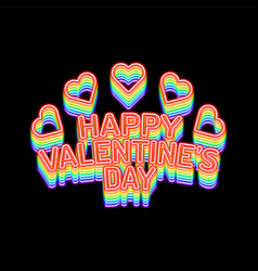 rainbow valentines day background with heart vector image