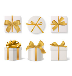 realistic decorative gift boxes 3d gifts white vector image