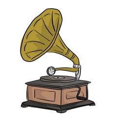 retro gramophone sketch doodle hand vector image