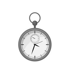 round stopwatch in gray steel case with ring on vector image