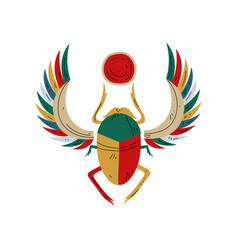 sacred scarab egyptian beetle symbol of vector image