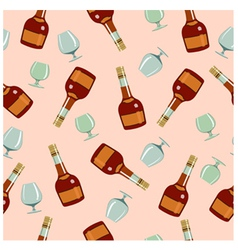 seamless pattern bottles and glasses vector image