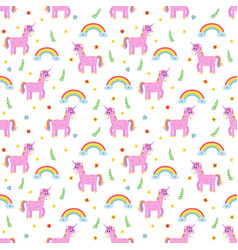 Seamless pattern with cute pink unicorns and vector