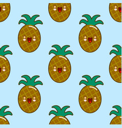 seamless pattern with smiling pineapples for kids vector image