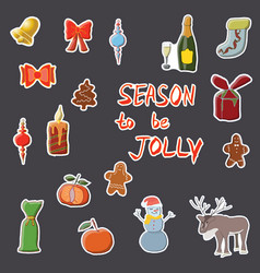 season to be jolly hand drawn set of festive vector image