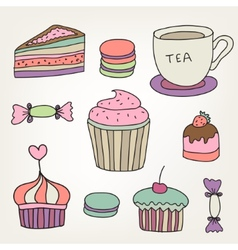 set of cute colorful hand drawn sweets cakes vector image