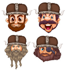 set viking head vector image