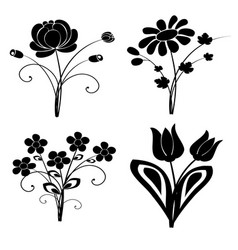 Silhouette flowers set 2 vector