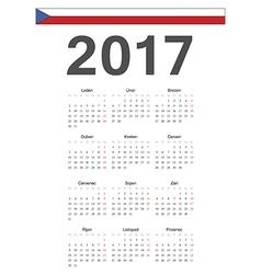 Simple Czech 2017 year calendar vector image