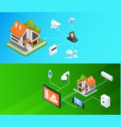 Smart home isometric banners set vector