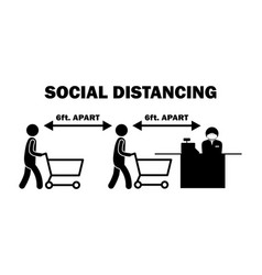 Social distancing 6ft apart cashier stick figure vector