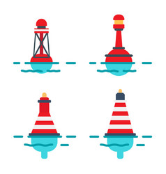 Striped buoys in water isolated set vector