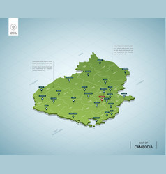 Stylized map cambodia isometric 3d green map vector