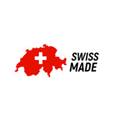 swiss made product label switzerland quality flag vector image