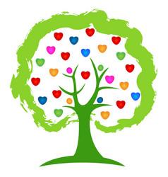Teamwork community people in vivid colors logo vector