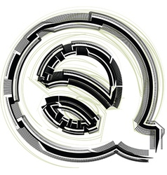 Technological font letter q vector