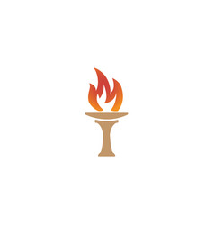 torch and flame symbol fire logo design vector image