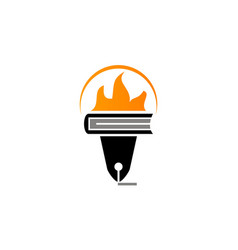 torch book and pen vector image