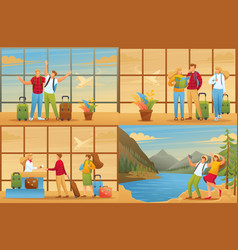 Tourists on vacation for animation vector