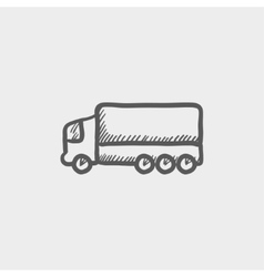 Trailer truck sketch icon vector