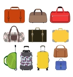 Travel bag icons collection vector