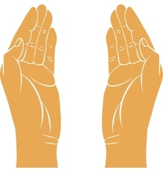 two hands with open palms vector image