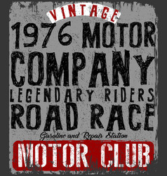 Vintage motorcycle poster t shirt typography vector