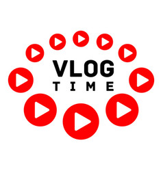 Vlog time logo flat style vector
