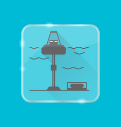 Wave energy station silhouette icon in flat style vector
