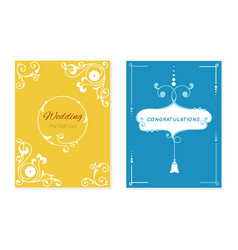 wedding retro invitation card save date vector image