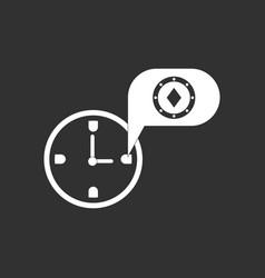 White icon on black background casino stuff time vector