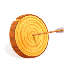 wood target icon cartoon style vector image
