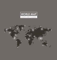world map lights and flashes in gray silhouette vector image